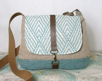 Tempe -- Crossbody messenger bag // Southwestern // Adjustable strap // Travel purse // Vegan // Chevron purse // Ready to ship
