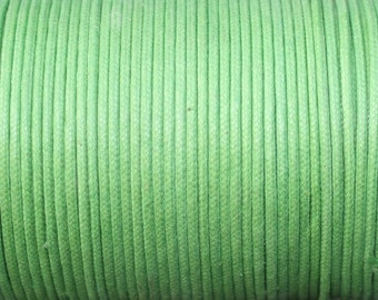 5 Yards - 2mm Green Waxed Cotton Cord