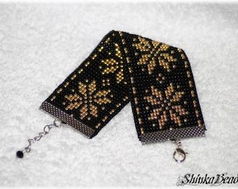 Ethnical native cuff bracelet with Auseklis / Morning Star / Venus Latvian, Baltic symbol bead loom