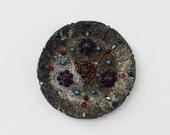 Vintage Tibetan Filigree Brass Plate - Red and Blue Inlaid Stones - Tibetan Brass Decor