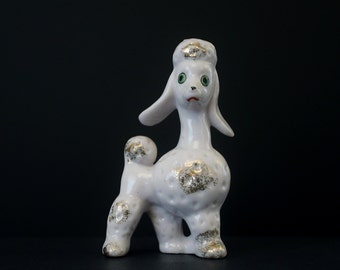 Vintage White Ceramic French Poodle Figurine with Gold Details - Kitschy Poodle Decor Japan Ceramics