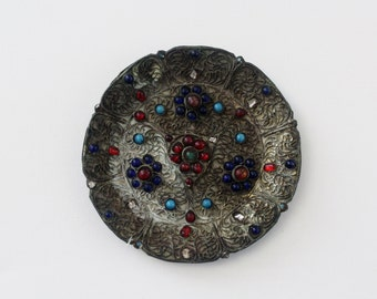 Vintage Tibetan Filigree Brass Plate - Red and Blue Inlaid Stones - Tibetan Brass Decor