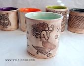 One of a kind Large Mermaid Ceramic Coffee Mug Tea Cup, Seahorse Seashell Starfish Sea Glass Color Pottery Mug OOAK 16 oz