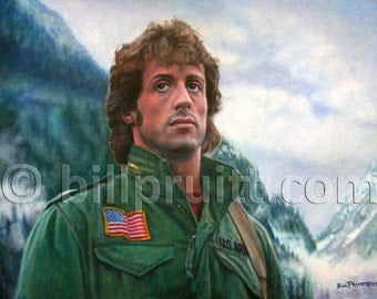 Sylvester Stallone Rambo First Blood art print 12x16 signed and dated Bill Pruitt