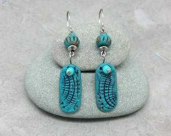 Blue Turquoise Rustic Polymer Clay Dangle Earrings