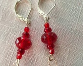 Red wire wrapped last earrings with Czechoslovakian red beads in glass with glass drops silver wire wrapped
