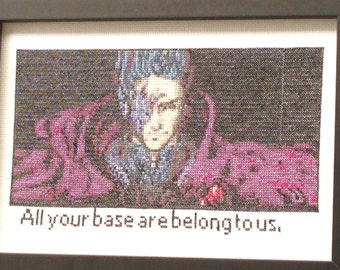OOAK cross stitch, All Your Base Are Belong to us cross stitch, gamer cross stitch, geek cross stitch, nerd cross stitch, purple, black