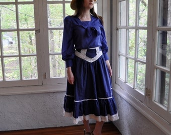 Sailor Moon Costume/Vintage 1960s 1970s/Royal Blue Sailor Blouse and Gunne Sax Midi Skirt/Size Small