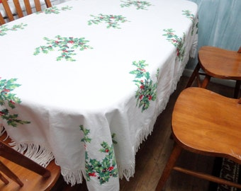 SALE vintage modern 1960s Christmas blanket table cloth 1960s fringe edges holly berries