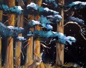 Painting=Oil on canvas-Deer in Snow-Nature Art by Diann