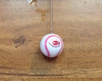Handmade, Cincinnait Reds Plastic Baseball Pull Chain, Ceiling Fan Pulls