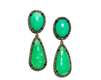 SALE Chrysprase & Diamond Tear Drop Shape Earrings