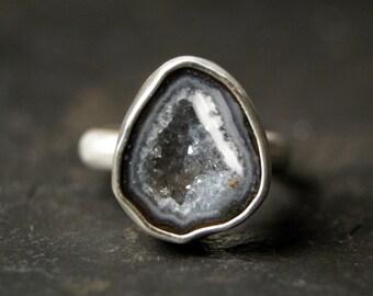 Grey Geode Ring in Sterling Silver