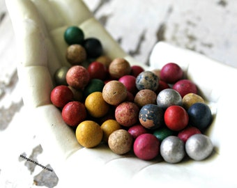 antique mini clay marbles handmade and painted, children's game, collectible marbles, cottage decor, urban decor, test tube filler