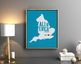 England Wedding Gift - Personalized Great Britain - Custom Destination - Date - City and Country Modern Art Print -  England