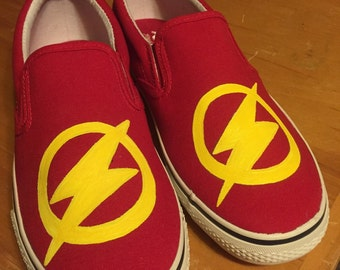 The Flash...Red, hand painted, canvas slip on shoes