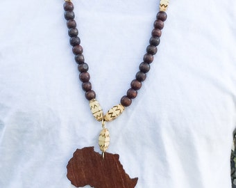 Mens Beaded Necklace With Africa Pendant