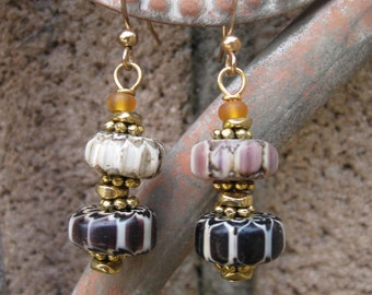 Nepali Layered Glass Earrings - Rustic Boho Earrings
