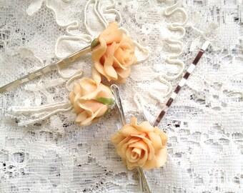 Blush Rose Hairpins, Wedding Bobby Pins, Pale Pink Bobbie Pins, Light Pink Hairpins, Brides, Bridesmaids, Flowergirls, Blush Flowers Bobbies
