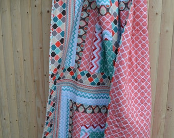 Modern Graphic Quilt Chevron Bold Mod Hippie Patchwork Abstract Contemporary Throw Quilt