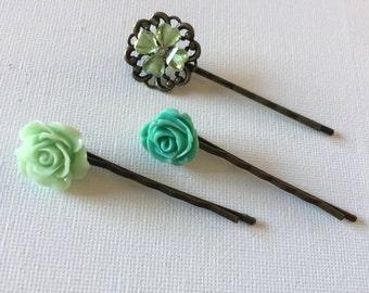 Blue Green Teal Rose Flower Hair Pins