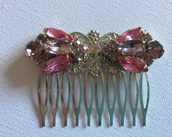 Pink Hair Comb, Romantic Beaded Haircomb Accessories, Collage Hair Piece