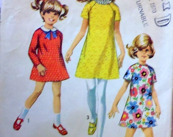 Simplicity 8670 girls' dress, raglan sleeve dress, breast 28 1/2 dress, Peter Pan collar, jiffy pattern, easy dress pattern, simple pattern