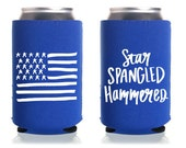 Star Spangled Hammered Can Cooler - Royal Blue Neoprene with White Ink