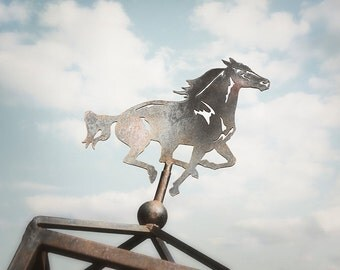 Rustic Art Print, Horse Wall Decor, Rustic Artwork, Western Photograph, Weathervane Photograph, Country Picture, Grey and Blue Photo