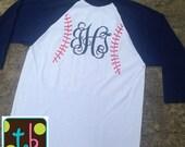 Baseball Stitch Monogram Baseball Mom Tee Personalized Baseball Shirt