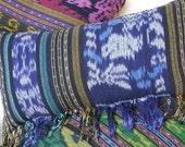 Blue Ikat Pillow, Lumbar Pillow Hand Woven Boho Pillow With Fringe, Ethnic Cushions