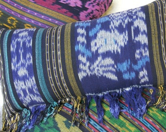 Blue Ikat Pillow, Lumbar Pillow Hand Woven Boho Pillow With Fringe, Ethnic Cushions Free Worldwide Shipping