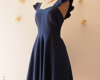 Olivia - Navy Bridesmaid Dress Navy Party Dress Navy Tea Dress Reception Dress Ruffle Cap Sleeve Dress Navy Summer dress-XS-XL, Custom