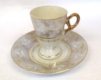 Demitasse Cup and Saucer Set, Silver, Gold and Opalescent Accents,Lusterware, Unmarked