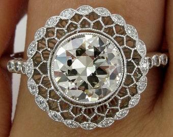 Vintage Antique 1.78CT Old EUROPEAN Diamond Platinum Engagement Ring