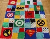 Superhero Rag Quilt / Blanket Bedding - Crib Size