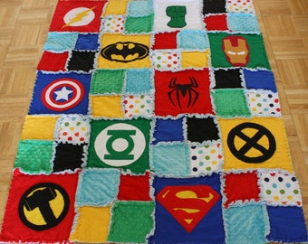 Superhero Rag Quilt-Crib Size. Spiderman Superman Batman Hulk. Superhero Nursery. Superhero Blanket. Superhero Bedding. Superhero Quilt