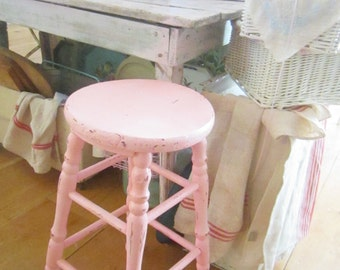 pink stool chippy painted shabby chic stool farmhouse  prairie cottage