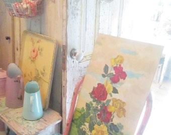 FREE SHIPPING Vintage oil painting roses board romantic vintage prairie