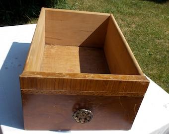 Art Deco  Storage Drawer  Flower design Brass  Drawer pull    storage  salvage  repurpose    1930s  1940s