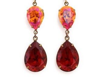 Crimson Red Rhinestone Jewelry, Hypoallergenic Earrings, Red Dangle Earrings, Crystal Rhinestone Earrings, Scarlet Red Earrings, Ethna