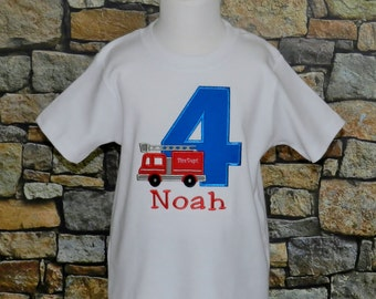 Firetruck Birthday Shirt / Personalized / Fireman