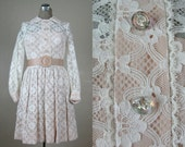 Vintage 1960s Dress 60s NOS White Lace Party Frock with Satin Belt by Mardi Gras Size 4S