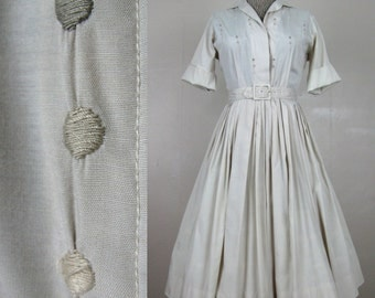 Vintage 1950s Cotton Blend Soft Tan Dress 50s Full Skirt Dress with Embroidered Dots on Bodice by Norman Wiatt Size 6/M