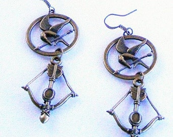 Hunger Games Inspired  Mockinjay Earrings with Bow  Limited Supply