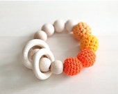 Sale! Orange, tangerine, pumpkin, deep carrot orange teething ring toy with crochet wooden beads. Rattle for baby.