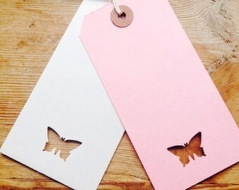 10 butterfly tags pink or white wedding bridal