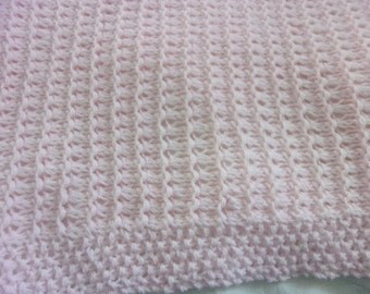 Hand Knit Baby Blanket -pale pink- chunky knit - ready to ship!