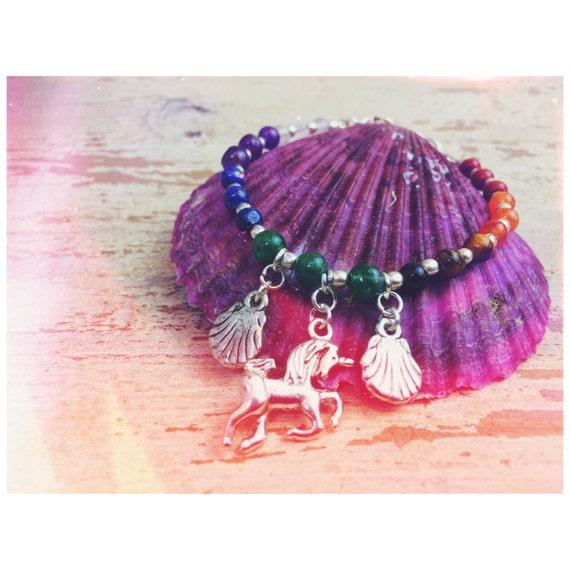 RAINBOW CHAKRA BANGLE- 7 Chakras- Necklace- Hippie- Crystal Necklace- Unicorn jewellery- Mermaid- Festival- Rainbow Jewelry- Shells- Magic
