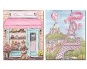 Paris Art Prints, Paris Decor, Personalized, Set Of 2, Paris Bedroom Decor, Paris Nursery, Girl Baby Shower Gift Idea, Eiffel Tower Decor
